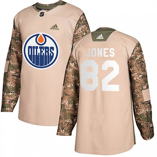 Caleb Jones Edmonton Oilers Youth Adidas Authentic Camo Veterans Day Practice Jersey