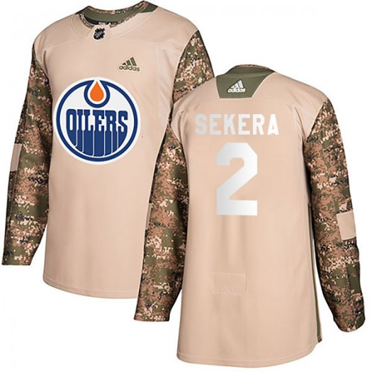 Andrej Sekera Edmonton Oilers Youth Adidas Authentic Camo Veterans Day Practice Jersey