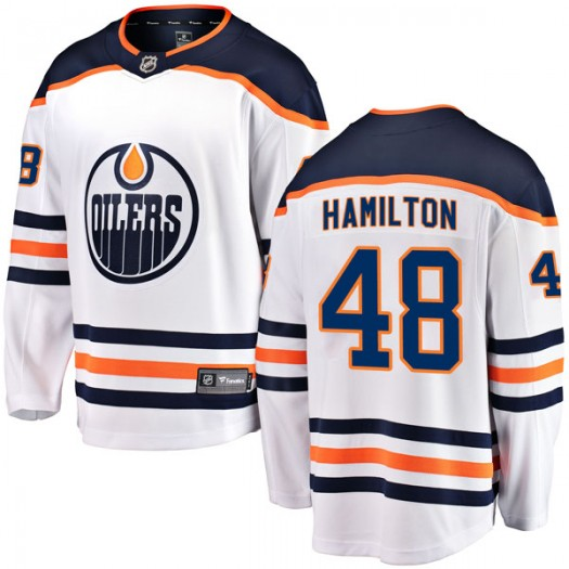 Ryan Hamilton Edmonton Oilers Youth Fanatics Branded Authentic White Away Breakaway Jersey