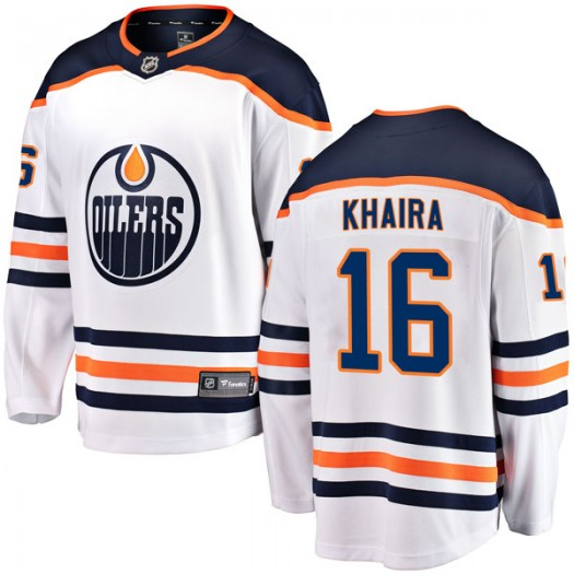 Jujhar Khaira Edmonton Oilers Youth Fanatics Branded Authentic White Away Breakaway Jersey