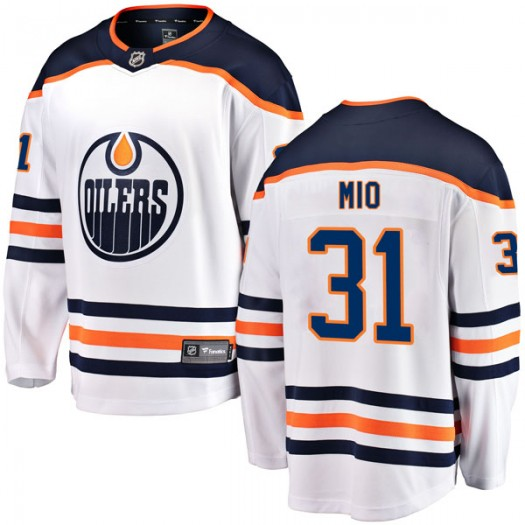 Eddie Mio Edmonton Oilers Youth Fanatics Branded Authentic White Away Breakaway Jersey