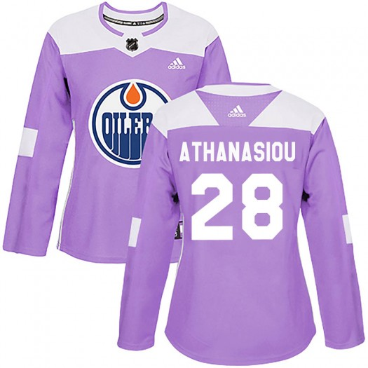Andreas Athanasiou Edmonton Oilers Women's Adidas Authentic Purple ized Fights Cancer Practice Jersey
