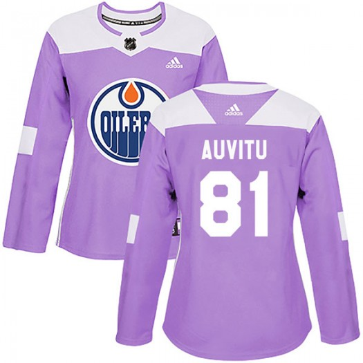 Yohann Auvitu Edmonton Oilers Women's Adidas Authentic Purple Fights Cancer Practice Jersey