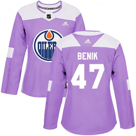 Joey Benik Edmonton Oilers Women's Adidas Authentic Purple Fights Cancer Practice Jersey