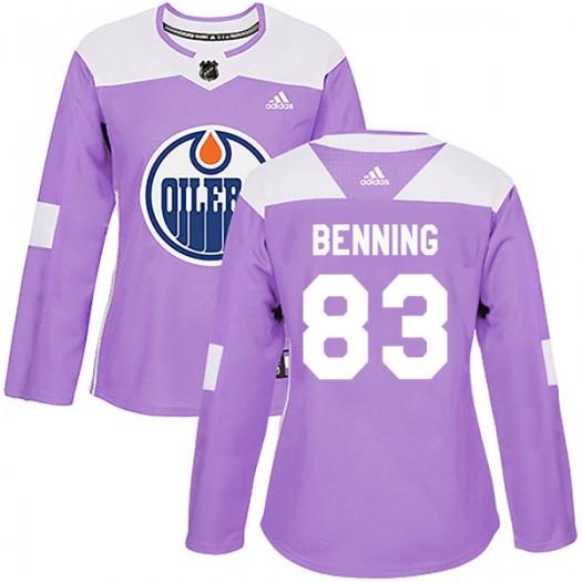 Matthew Benning Edmonton Oilers Women's Adidas Authentic Purple Fights Cancer Practice Jersey