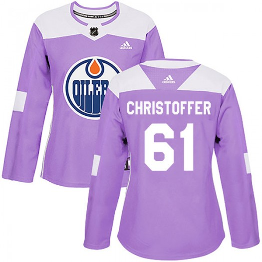 Braden Christoffer Edmonton Oilers Women's Adidas Authentic Purple Fights Cancer Practice Jersey