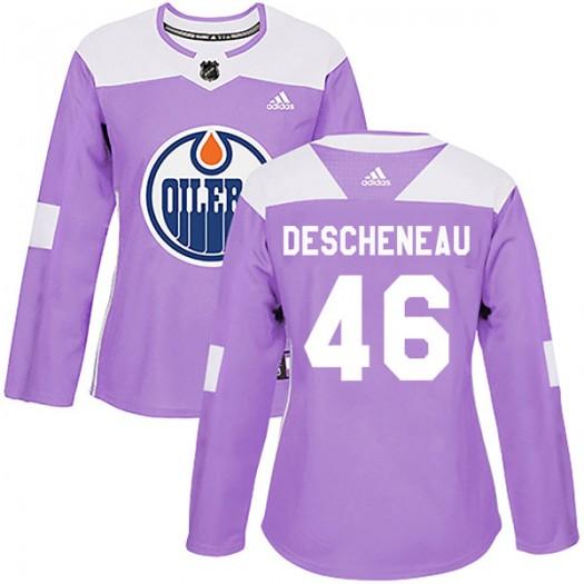 Jaedon Descheneau Edmonton Oilers Women's Adidas Authentic Purple Fights Cancer Practice Jersey