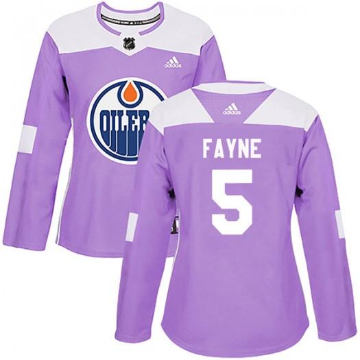 Mark Fayne Edmonton Oilers Women's Adidas Authentic Purple Fights Cancer Practice Jersey