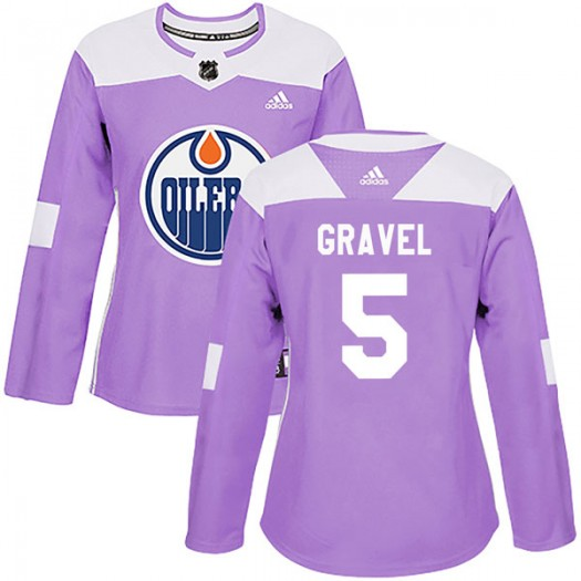 Kevin Gravel Edmonton Oilers Women's Adidas Authentic Purple Fights Cancer Practice Jersey