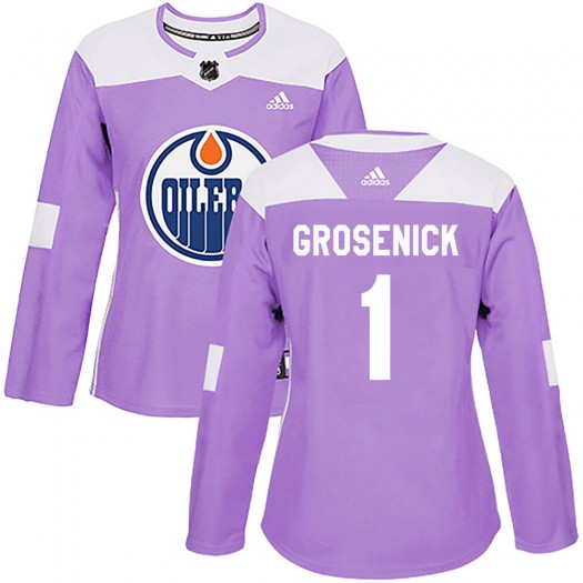 Troy Grosenick Edmonton Oilers Women's Adidas Authentic Purple Fights Cancer Practice Jersey