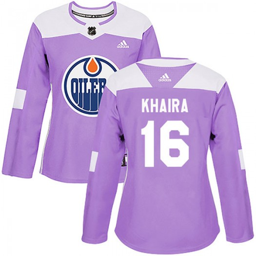 Jujhar Khaira Edmonton Oilers Women's Adidas Authentic Purple Fights Cancer Practice Jersey