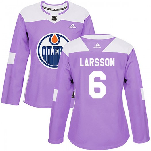 Adam Larsson Edmonton Oilers Women's Adidas Authentic Purple Fights Cancer Practice Jersey