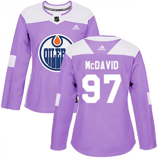 Connor McDavid Edmonton Oilers Women's Adidas Authentic Purple Fights Cancer Practice Jersey