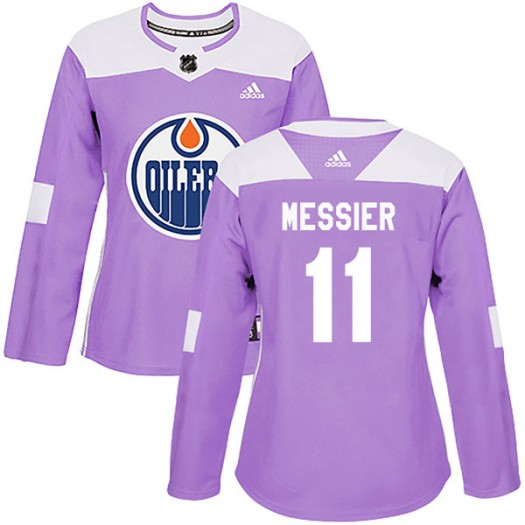 Mark Messier Edmonton Oilers Women's Adidas Authentic Purple Fights Cancer Practice Jersey
