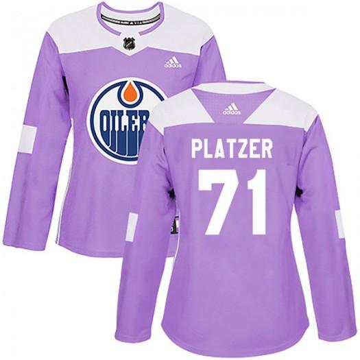 Kyle Platzer Edmonton Oilers Women's Adidas Authentic Purple Fights Cancer Practice Jersey