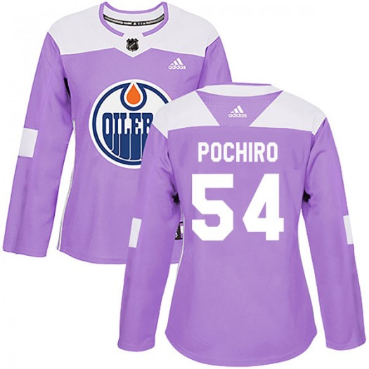 Zach Pochiro Edmonton Oilers Women's Adidas Authentic Purple Fights Cancer Practice Jersey