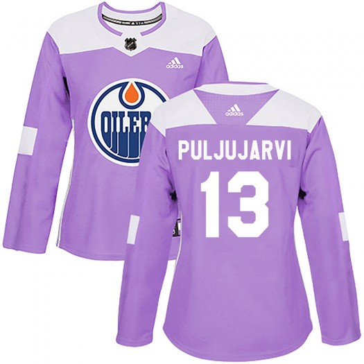 Jesse Puljujarvi Edmonton Oilers Women's Adidas Authentic Purple Fights Cancer Practice Jersey