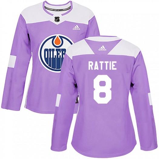 Ty Rattie Edmonton Oilers Women's Adidas Authentic Purple Fights Cancer Practice Jersey
