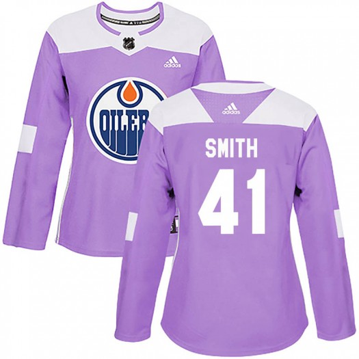 Mike Smith Edmonton Oilers Women's Adidas Authentic Purple Fights Cancer Practice Jersey