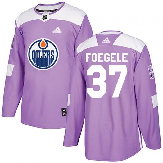 Warren Foegele Edmonton Oilers Men's Adidas Authentic Purple Fights Cancer Practice Jersey