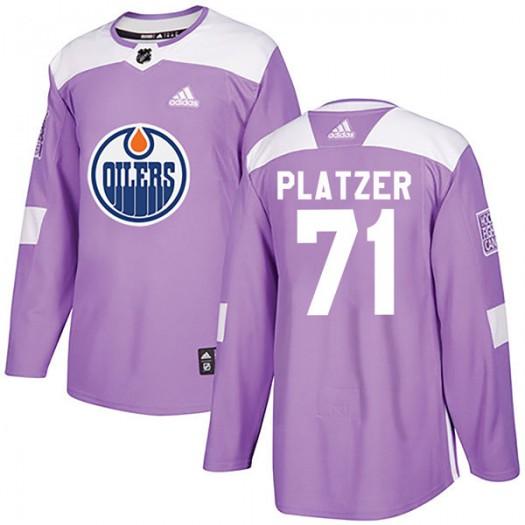 Kyle Platzer Edmonton Oilers Men's Adidas Authentic Purple Fights Cancer Practice Jersey