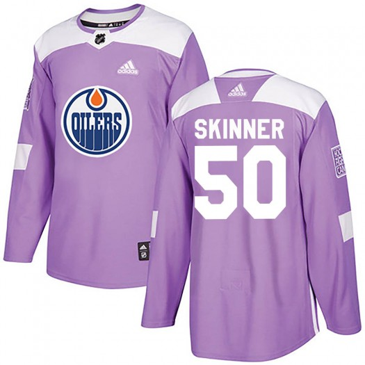 Stuart Skinner Edmonton Oilers Men's Adidas Authentic Purple ized Fights Cancer Practice Jersey
