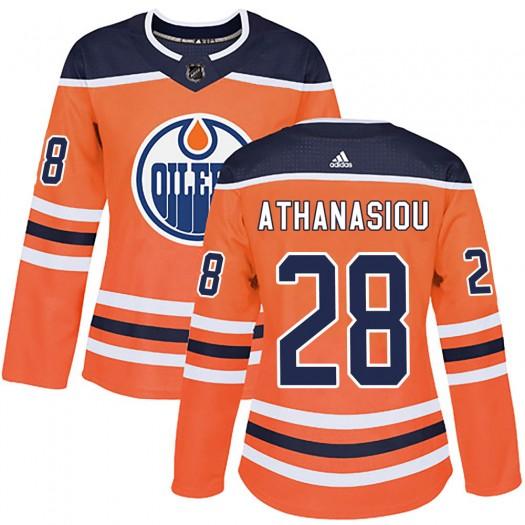 Andreas Athanasiou Edmonton Oilers Women's Adidas Authentic Orange ized r Home Jersey