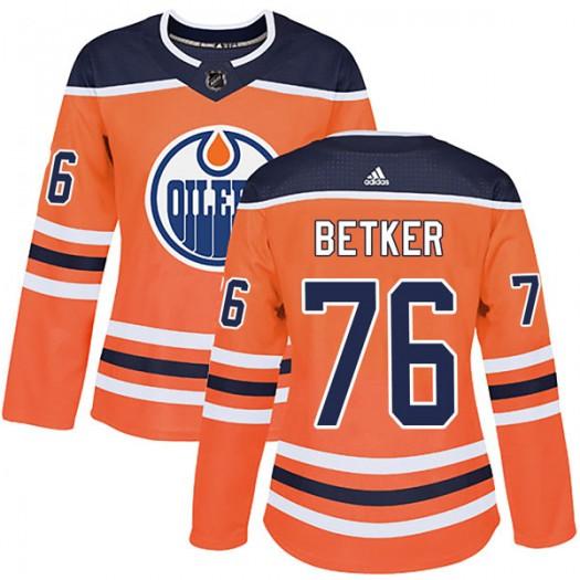 Ben Betker Edmonton Oilers Women's Adidas Authentic Orange r Home Jersey