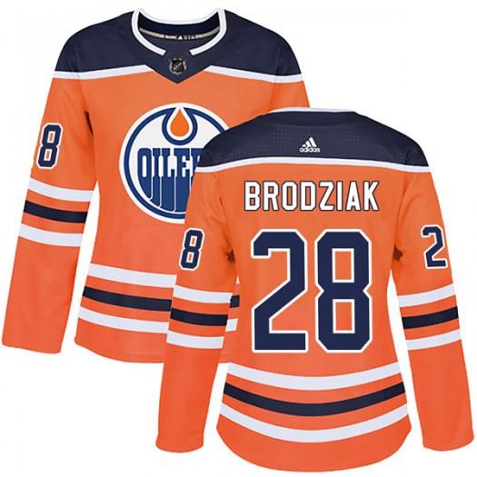 Kyle Brodziak Edmonton Oilers Women's Adidas Authentic Orange r Home Jersey