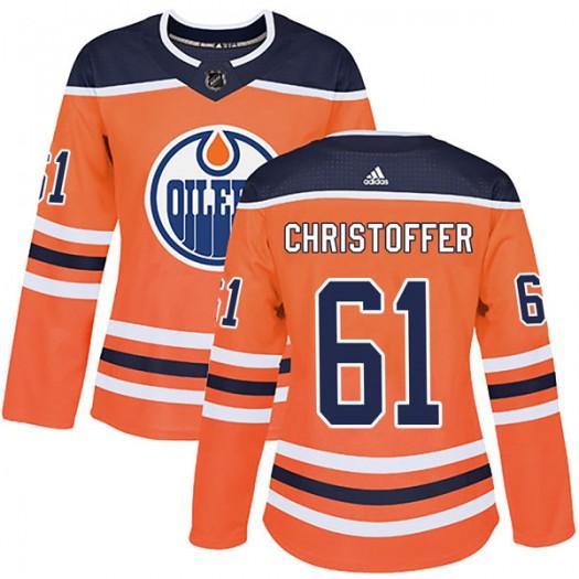 Braden Christoffer Edmonton Oilers Women's Adidas Authentic Orange r Home Jersey