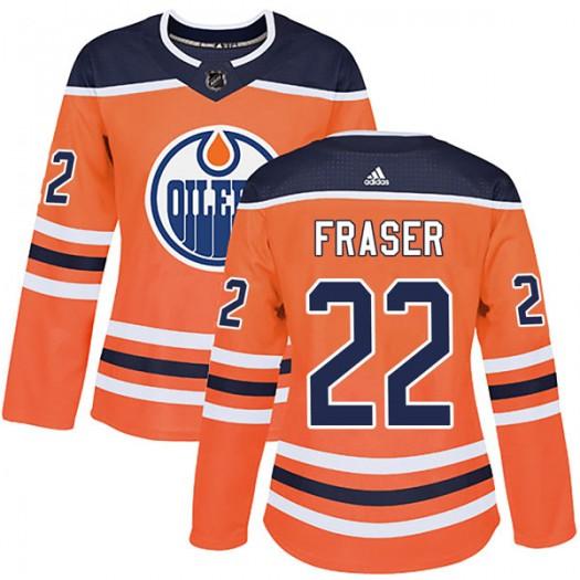 Mark Fraser Edmonton Oilers Women's Adidas Authentic Orange r Home Jersey