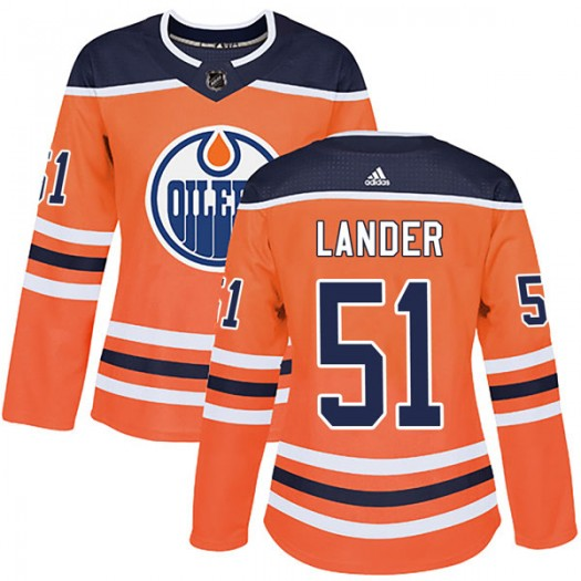 Anton Lander Edmonton Oilers Women's Adidas Authentic Orange r Home Jersey