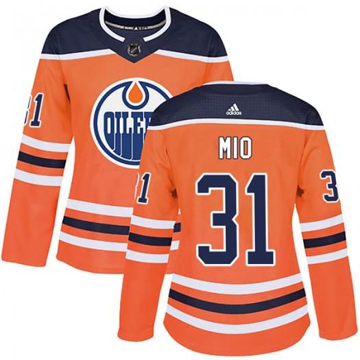 Eddie Mio Edmonton Oilers Women's Adidas Authentic Orange r Home Jersey