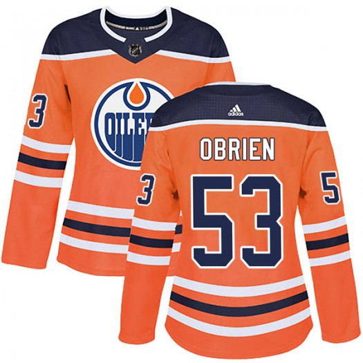 Zach Obrien Edmonton Oilers Women's Adidas Authentic Orange r Home Jersey