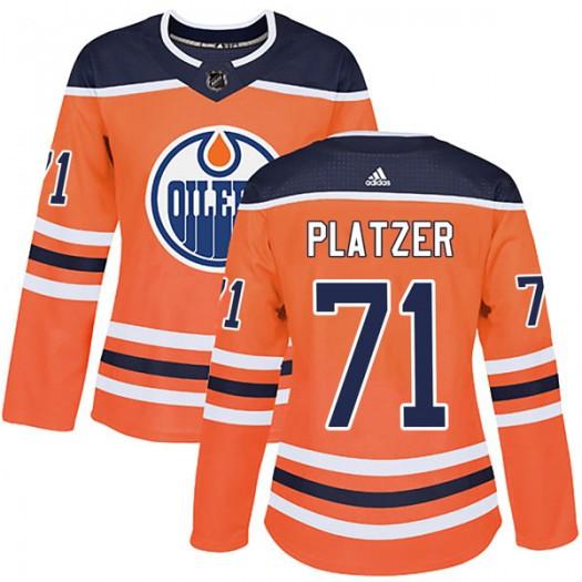 Kyle Platzer Edmonton Oilers Women's Adidas Authentic Orange r Home Jersey
