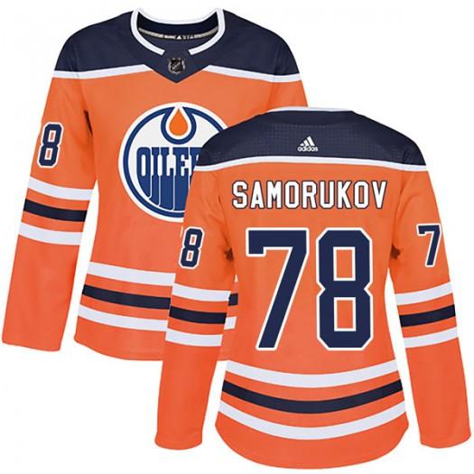 Dmitri Samorukov Edmonton Oilers Women's Adidas Authentic Orange r Home Jersey