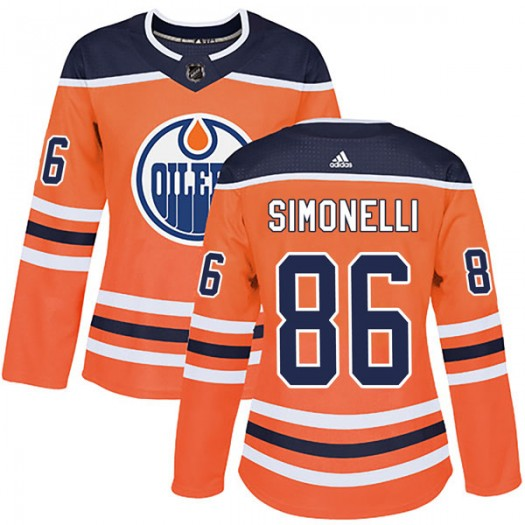 Frankie Simonelli Edmonton Oilers Women's Adidas Authentic Orange r Home Jersey