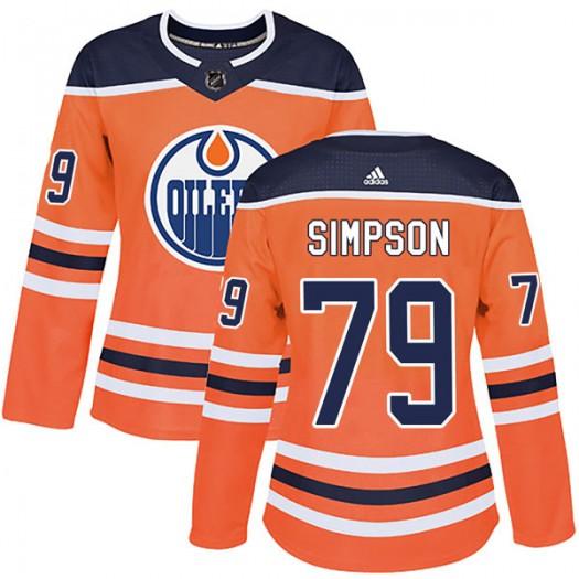 Dillon Simpson Edmonton Oilers Women's Adidas Authentic Orange r Home Jersey
