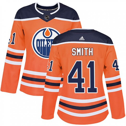 Mike Smith Edmonton Oilers Women's Adidas Authentic Orange r Home Jersey