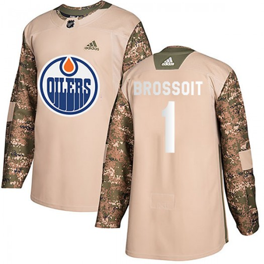 Laurent Brossoit Edmonton Oilers Men's Adidas Authentic Camo Veterans Day Practice Jersey