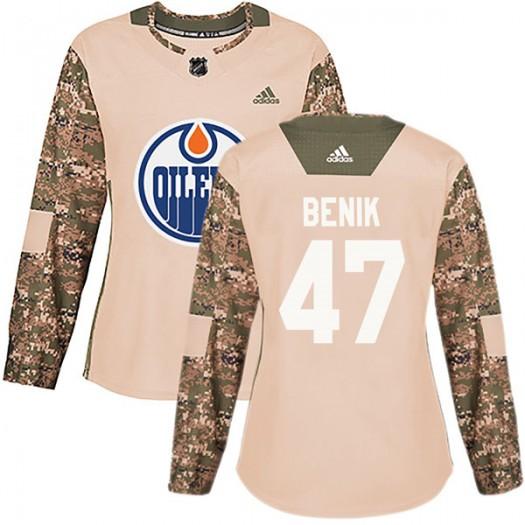 Joey Benik Edmonton Oilers Women's Adidas Authentic Camo Veterans Day Practice Jersey