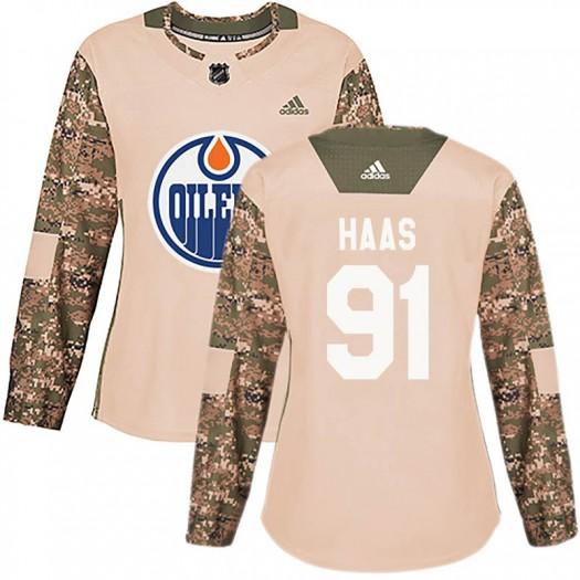 Gaetan Haas Edmonton Oilers Women's Adidas Authentic Camo Veterans Day Practice Jersey