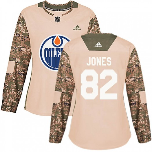 Caleb Jones Edmonton Oilers Women's Adidas Authentic Camo Veterans Day Practice Jersey
