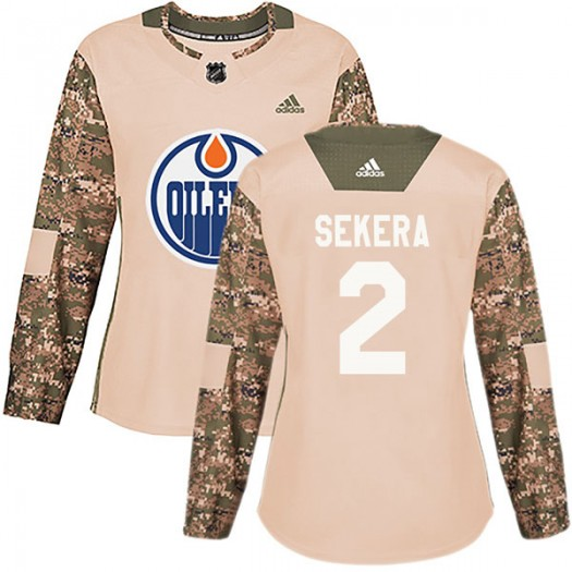 Andrej Sekera Edmonton Oilers Women's Adidas Authentic Camo Veterans Day Practice Jersey