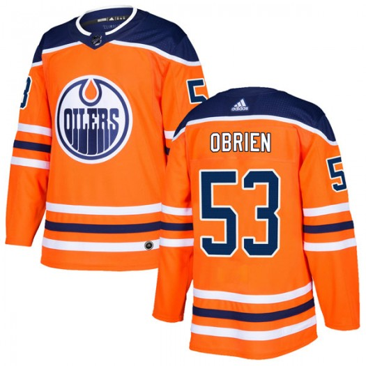 Zach Obrien Edmonton Oilers Youth Adidas Authentic Orange r Home Jersey