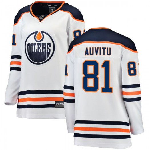 Yohann Auvitu Edmonton Oilers Women's Fanatics Branded Authentic White Away Breakaway Jersey