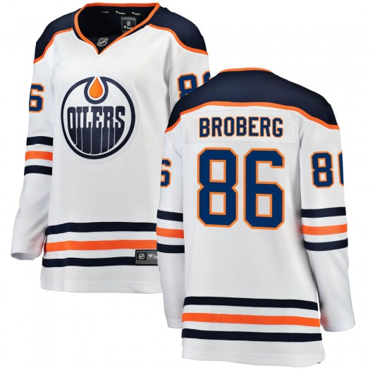 Philip Broberg Edmonton Oilers Women's Fanatics Branded White Breakaway Away Jersey