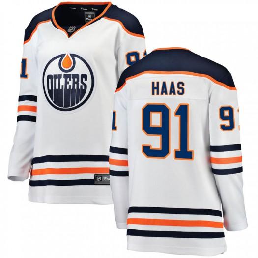 Gaetan Haas Edmonton Oilers Women's Fanatics Branded White Breakaway Away Jersey