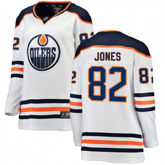 Caleb Jones Edmonton Oilers Women's Fanatics Branded White Breakaway Away Jersey