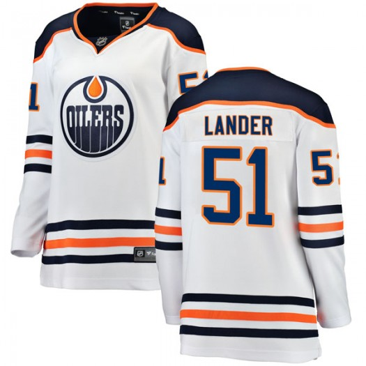 Anton Lander Edmonton Oilers Women's Fanatics Branded Authentic White Away Breakaway Jersey